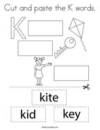 Cut and paste the K words Coloring Page