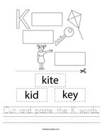 Cut and paste the K words Handwriting Sheet
