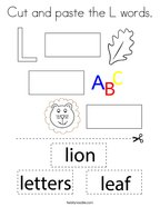Cut and paste the L words Coloring Page