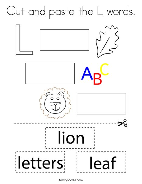 Cut and paste the L words. Coloring Page