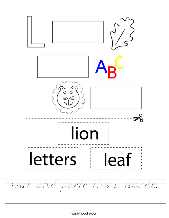 Cut and paste the L words. Worksheet