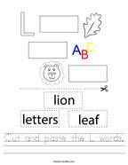 Cut and paste the L words Handwriting Sheet