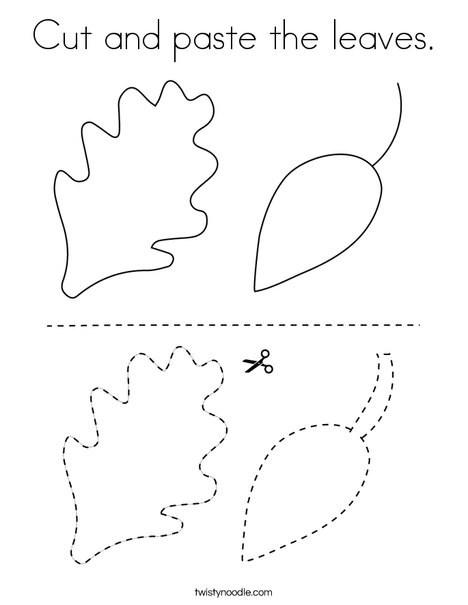 Cut And Paste The Leaves Coloring Page Twisty Noodle