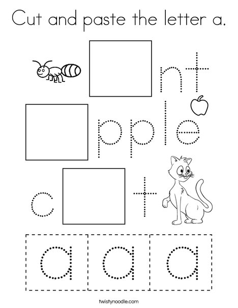 Cut and paste the letter a. Coloring Page