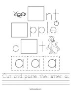 Cut and paste the letter a Handwriting Sheet