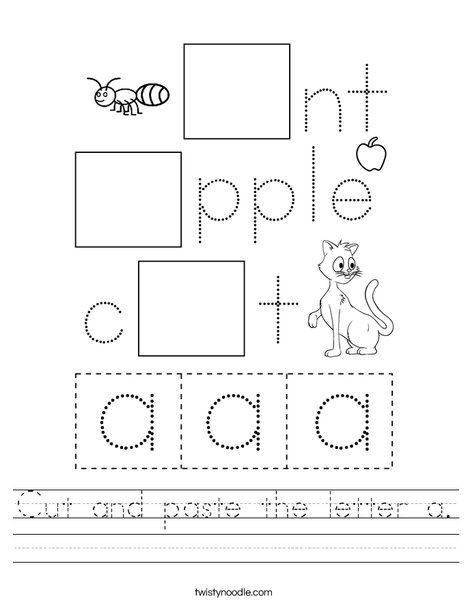 Cut and paste the letter a. Worksheet