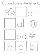 Cut and paste the letter b Coloring Page