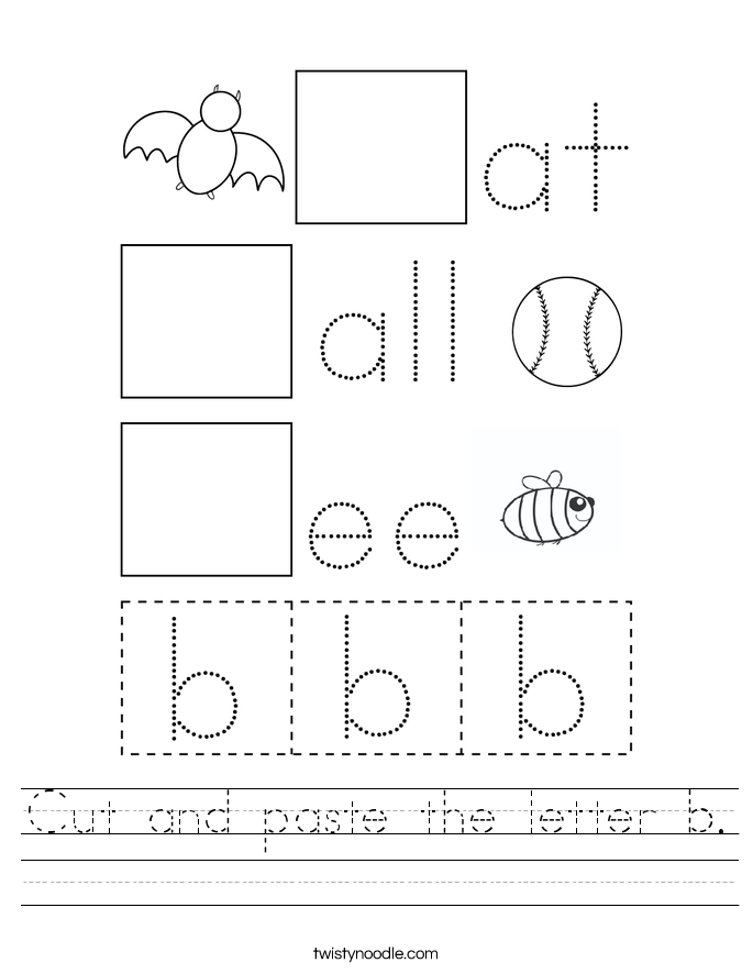 Cut and paste the letter b. Worksheet