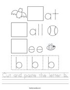 Cut and paste the letter b Handwriting Sheet