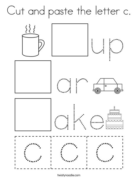 Cut and paste the letter c. Coloring Page