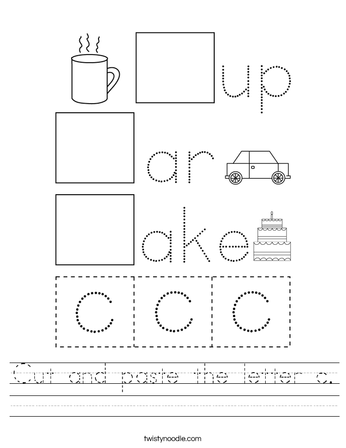 Cut and paste the letter c. Worksheet