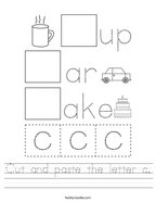 Cut and paste the letter c Handwriting Sheet