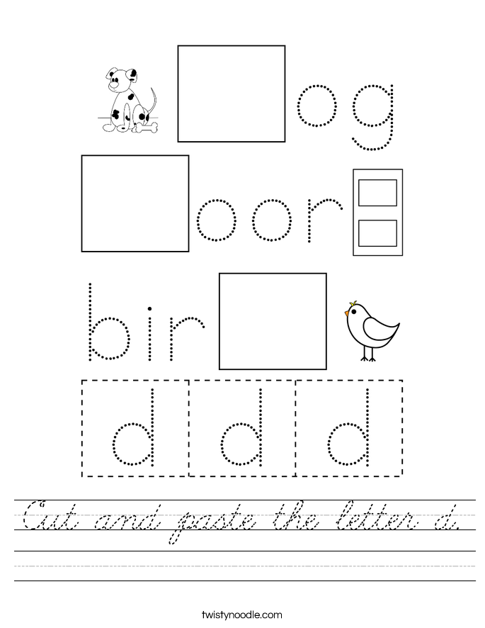Cut and paste the letter d. Worksheet