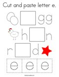 Cut and paste letter e. Coloring Page