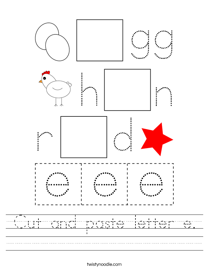 Cut and paste letter e. Worksheet