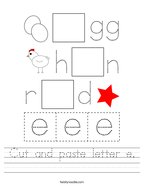 Cut and paste letter e Handwriting Sheet