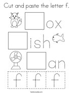 Cut and paste the letter f Coloring Page