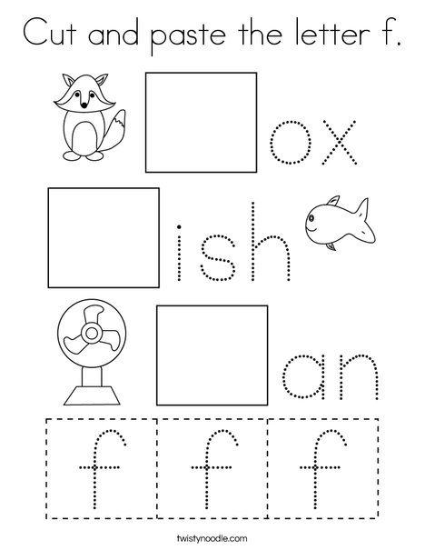 Cut and paste the letter f. Coloring Page