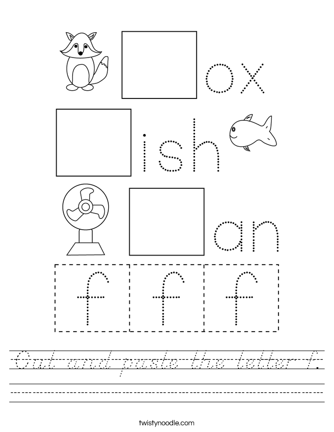 Cut and paste the letter f. Worksheet