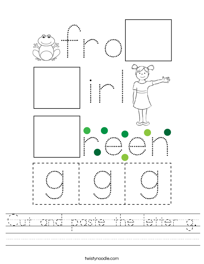 Cut and paste the letter g Worksheet - Twisty Noodle
