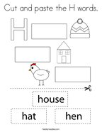 Cut and paste the H words Coloring Page