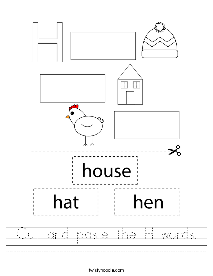 Cut and paste the H words. Worksheet