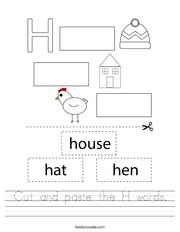 Cut and paste the H words Handwriting Sheet