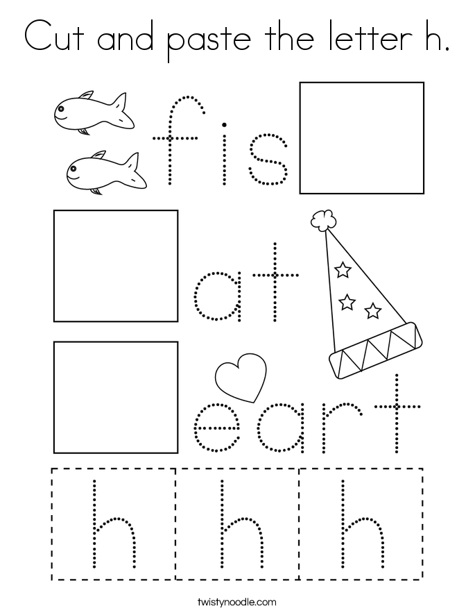 Cut and paste the letter h. Coloring Page