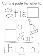 Cut and paste the letter h Coloring Page