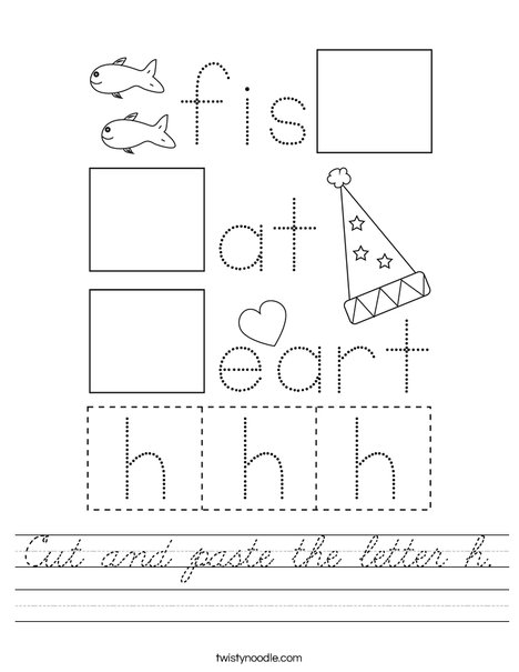 Cut and paste the letter h. Worksheet