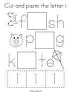 Cut and paste the letter i Coloring Page