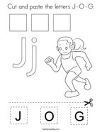 Cut and paste the letters J-O-G Coloring Page
