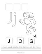 Cut and paste the letters J-O-G Handwriting Sheet