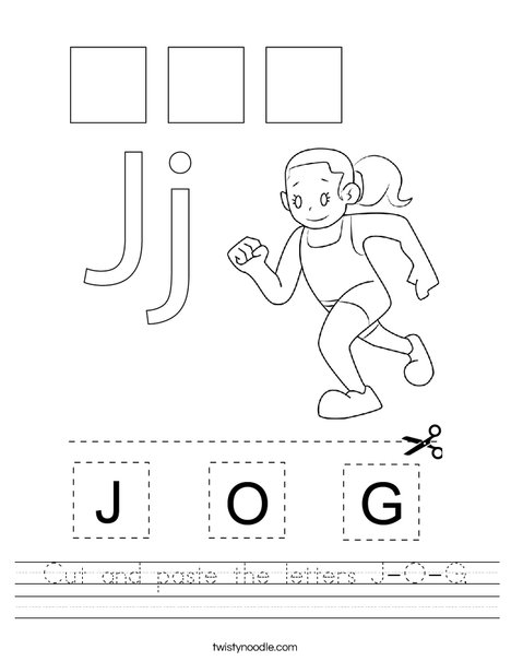 Cut and paste the letter J-O-G. Worksheet