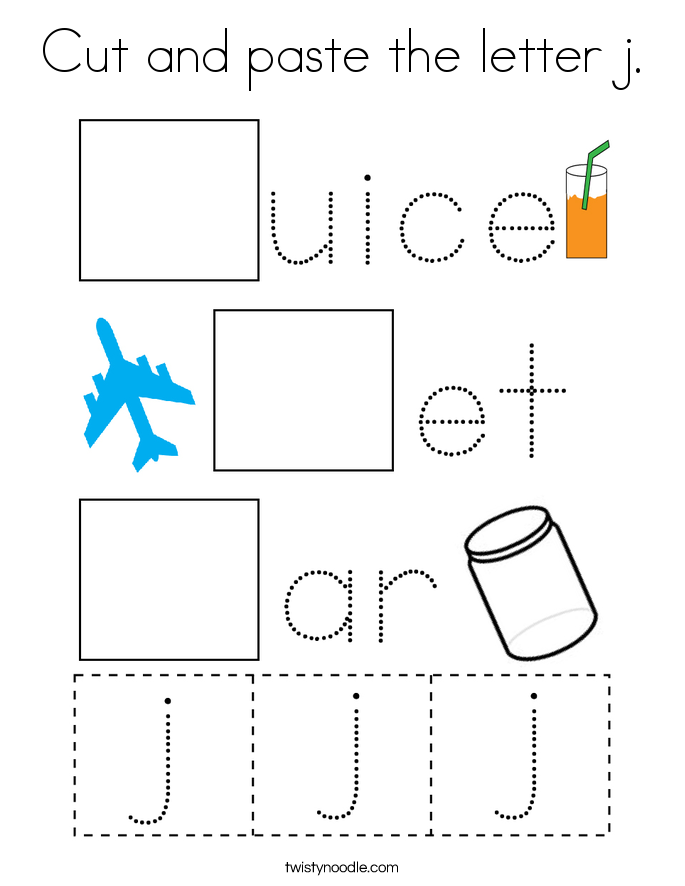 Cut and paste the letter j. Coloring Page