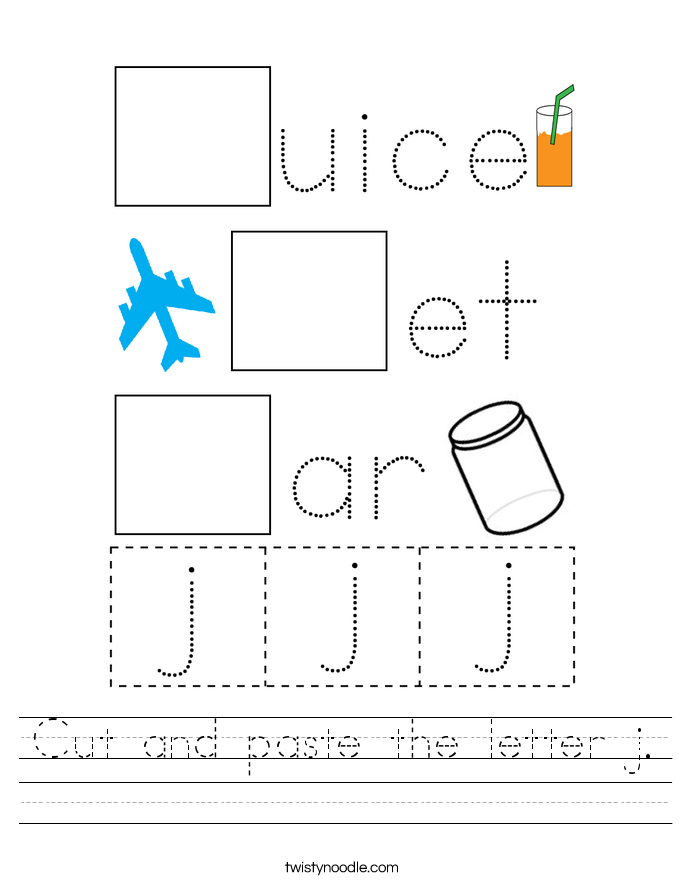 Cut and paste the letter j. Worksheet