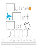 Cut and paste the letter j Handwriting Sheet