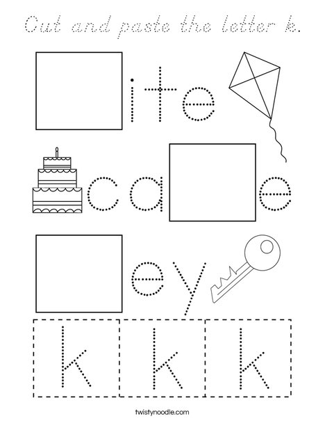 Cut and paste the letter k. Coloring Page