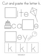 Cut and paste the letter k Coloring Page
