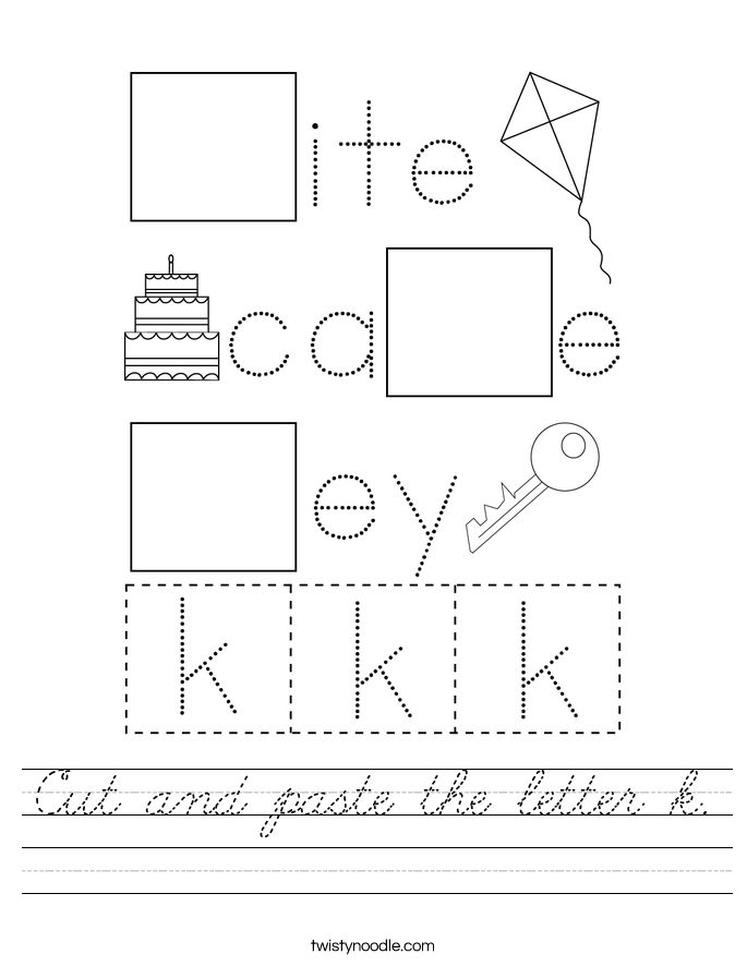 Cut and paste the letter k. Worksheet