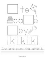 Cut and paste the letter k Handwriting Sheet