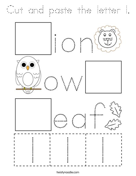 Cut and paste the letter l. Coloring Page