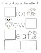 Cut and paste the letter l Coloring Page