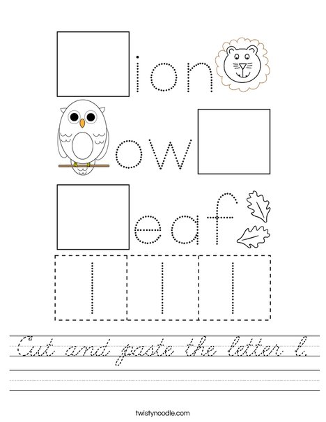Cut and paste the letter l. Worksheet
