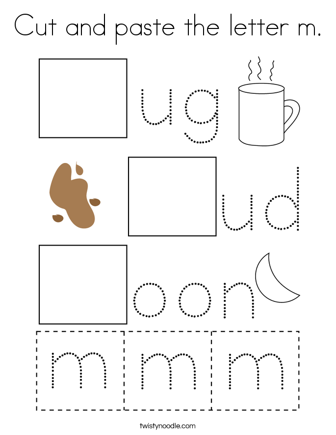 Cut and paste the letter m. Coloring Page