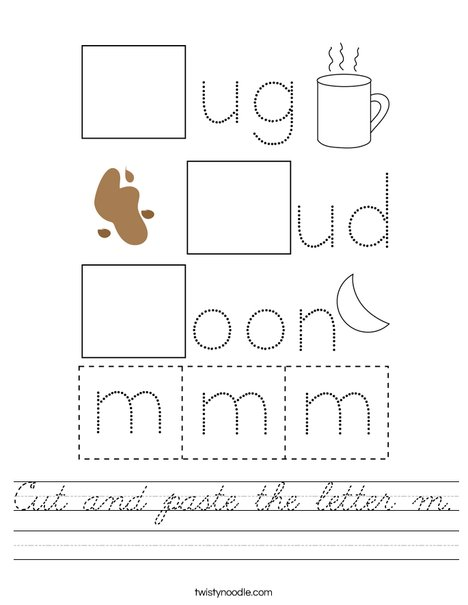 Cut and paste the letter m. Worksheet