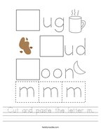 Cut and paste the letter m Handwriting Sheet