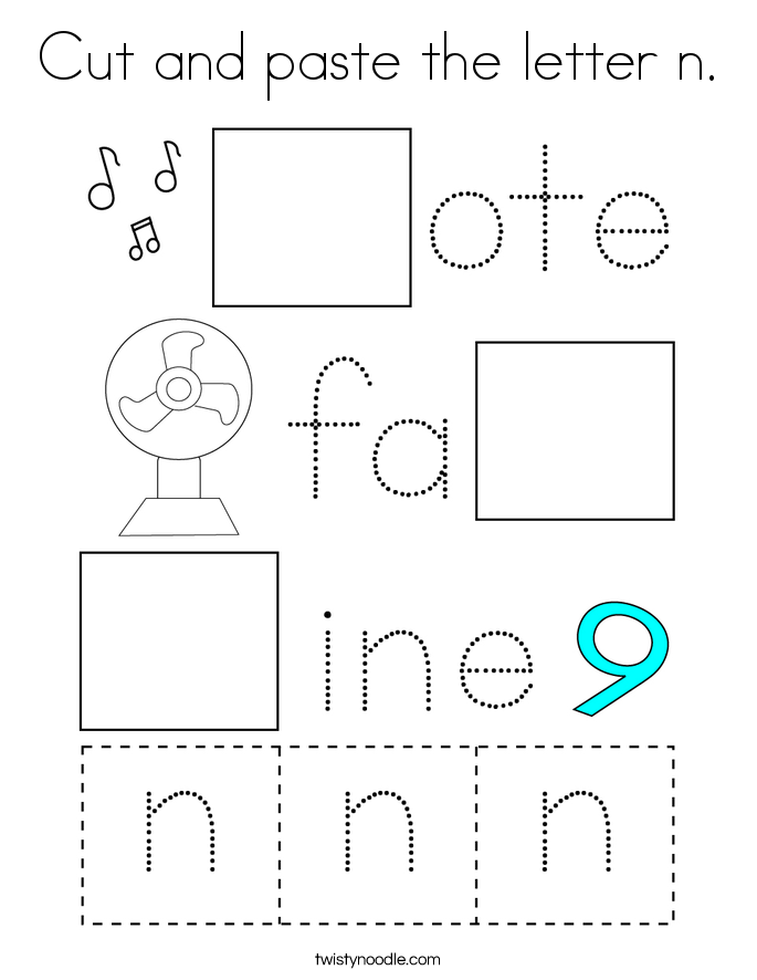 Cut and paste the letter n. Coloring Page