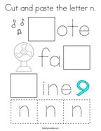 Cut and paste the letter n Coloring Page