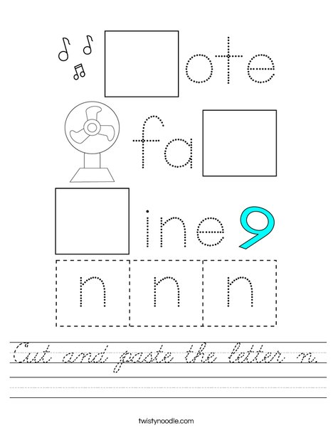 Cut and paste the letter n. Worksheet